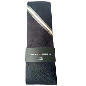 Tommy Hilfiger Signature Stripe Navy Slim Tie NWT